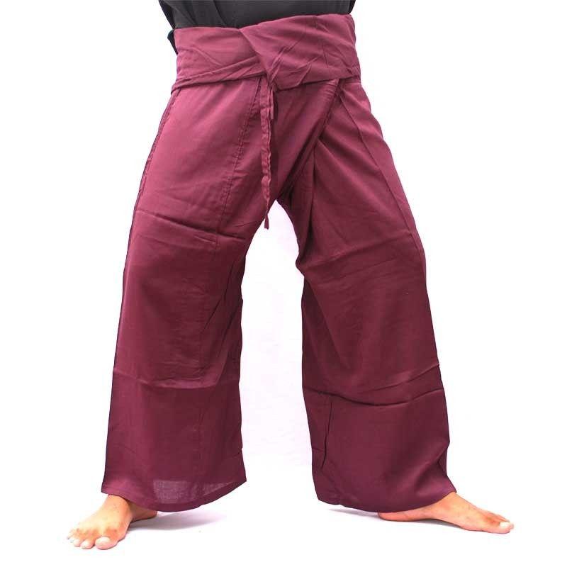 Pantalón pescador Thai - viscoso rojo oscuro