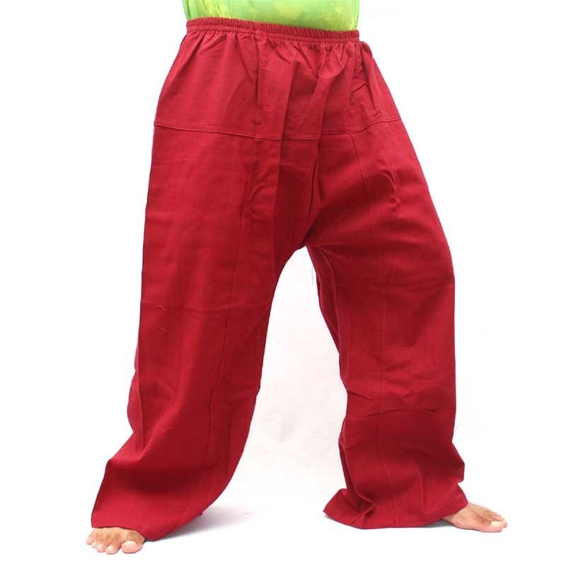 Algodon pantalones de ocio - rojo