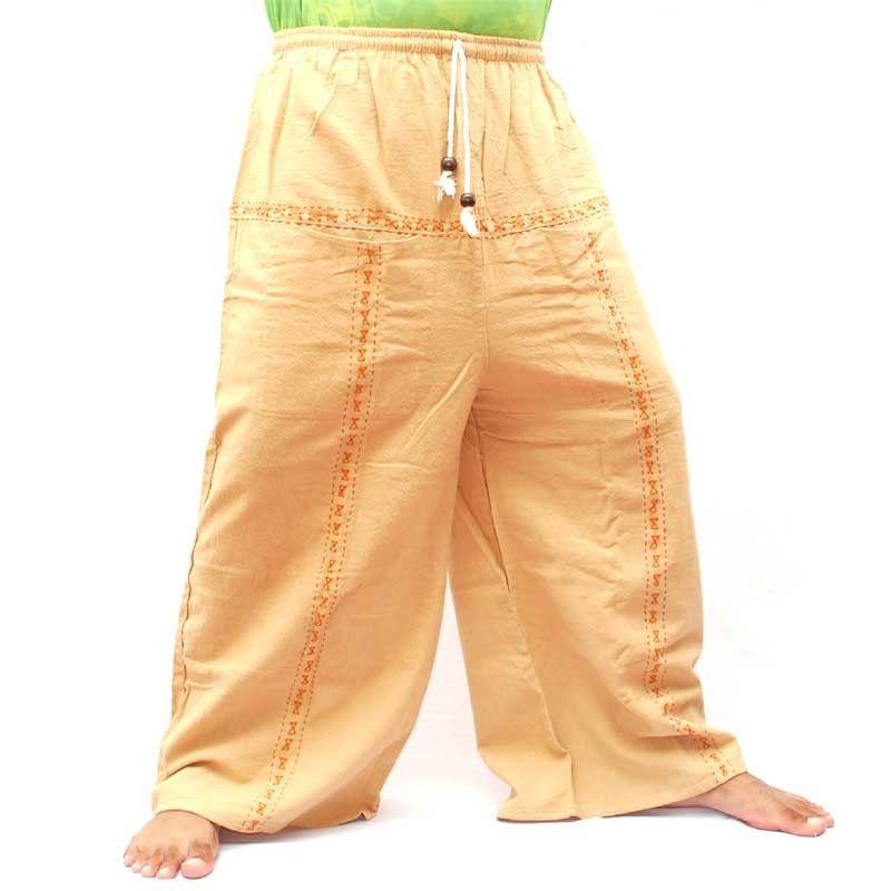 Algodón de los pantalones del ocio - caqui