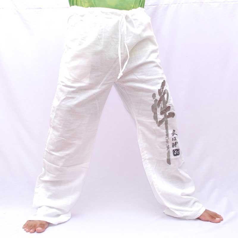 Pantalones de algodón ventilado - blanco