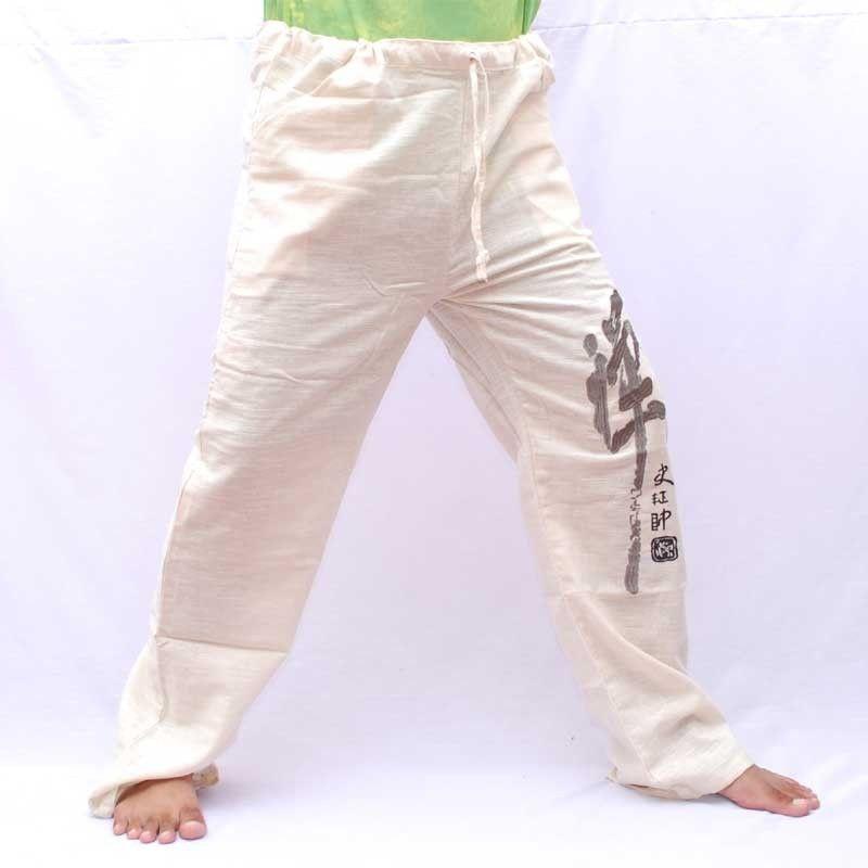 Algodón airy pantalones - sin teñir