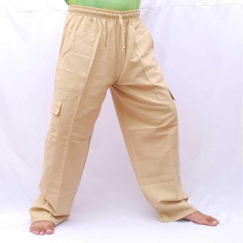 algodón de color natural - Gang, Ghaeng Thiao ocio pantalones de algodón
