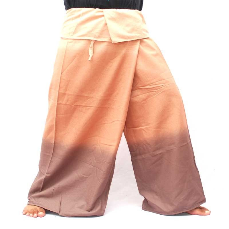 Thai wrap pants - brown tones shaded