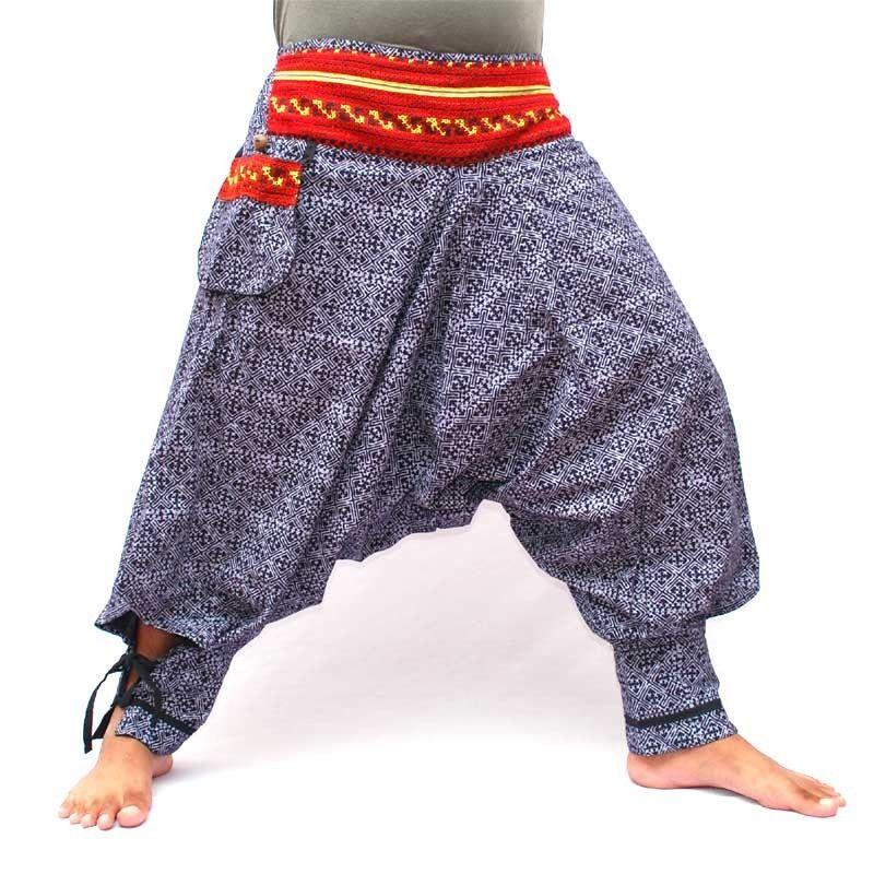 Hmong Hill tribu pantalones de algodón