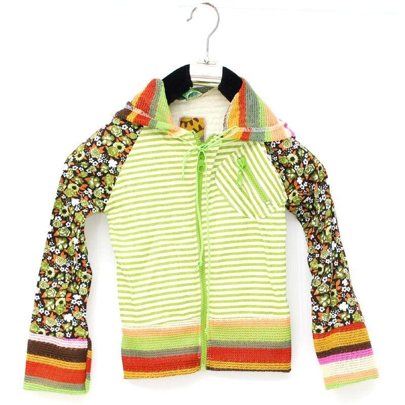 Chaqueta con capucha de manga larga retro subterránea global para niños talla S