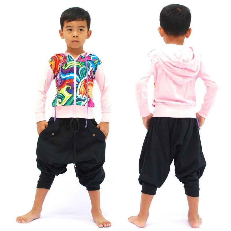 Chaqueta con capucha de manga larga retro subterránea global para niños talla M