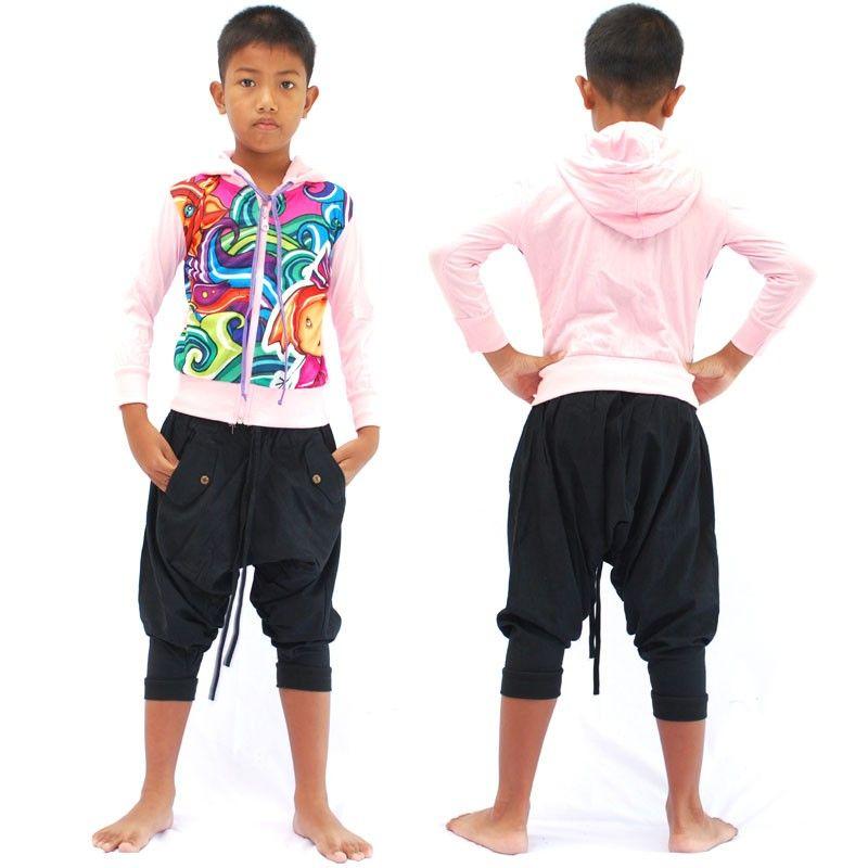 chaqueta con capucha de manga larga retro subterráneo global para niños tamaño L
