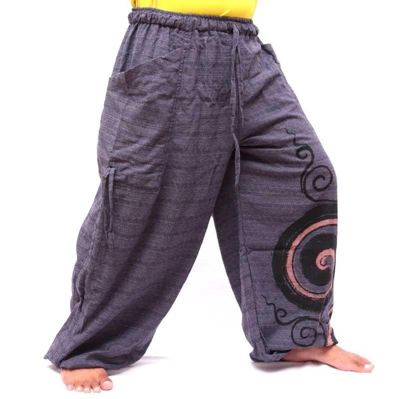 Pantalón tailandés hippie para atar diseño espiral de algodón grueso