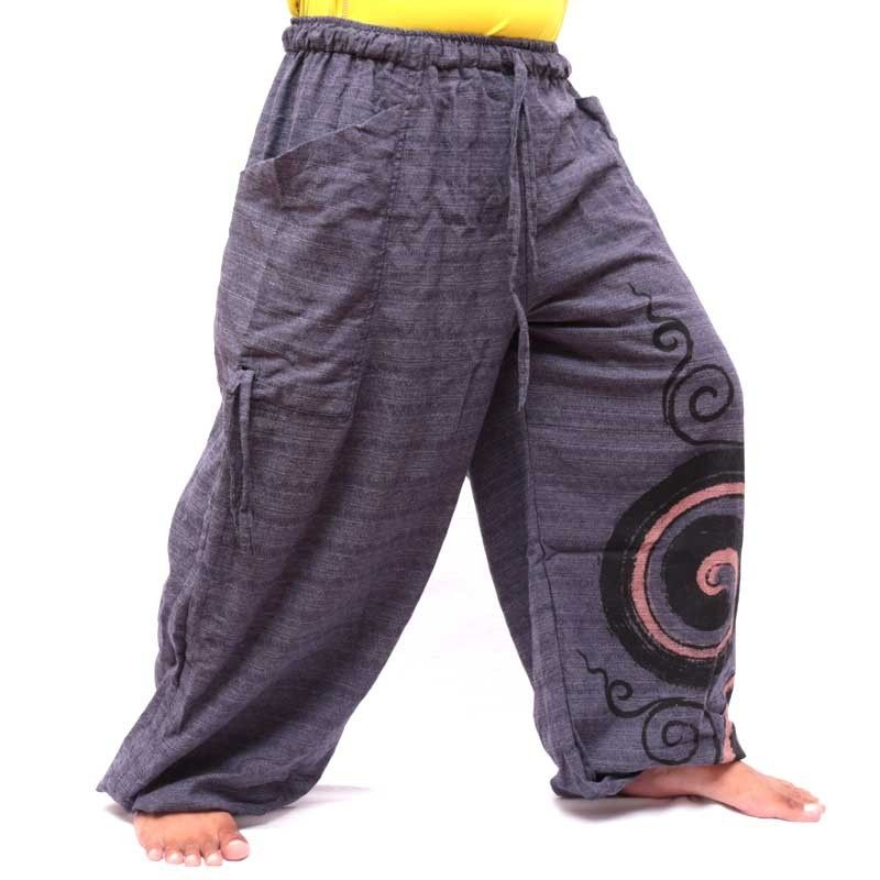 Thai Hippie pants for tying spiral design made of heavy cotton