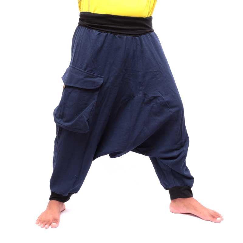 3/5 Aladinhose - blau mit großer Seitentasche