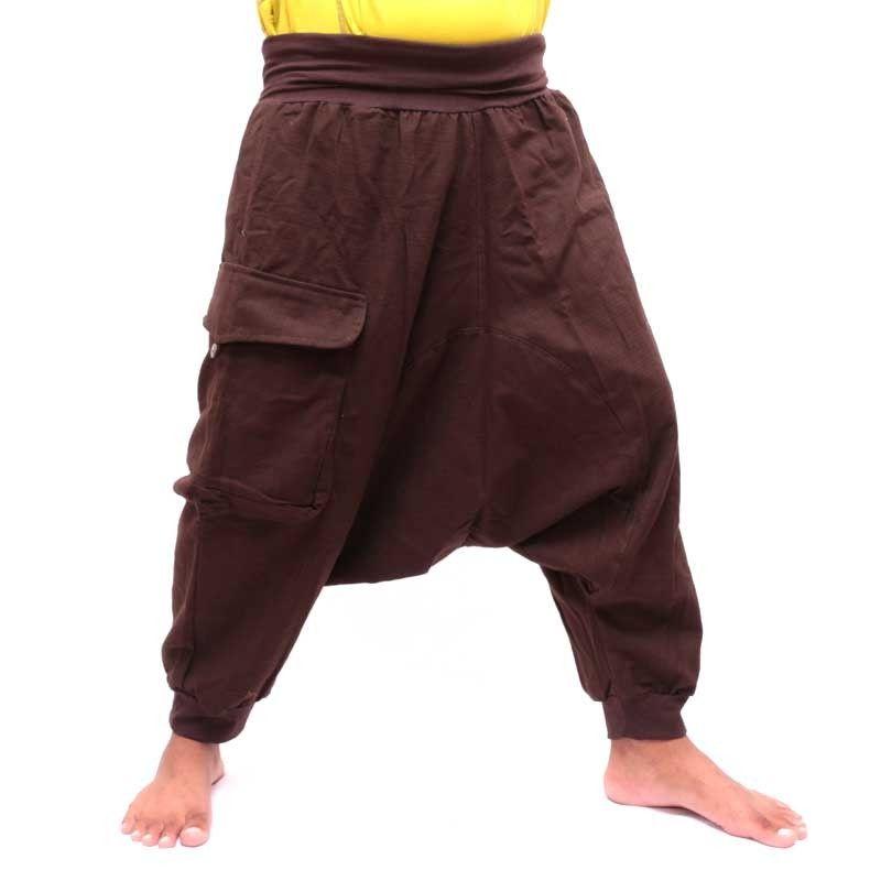 3/5 Aladinhose - braun mit großer Seitentasche