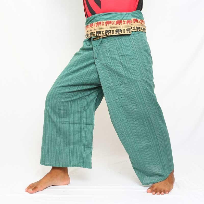 Pantalones de pescador tailandeses con borde de algodón - aguamarina