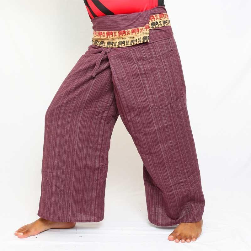 Envuelva los pantalones con adornos estampados - algodón - azul colores de Berry