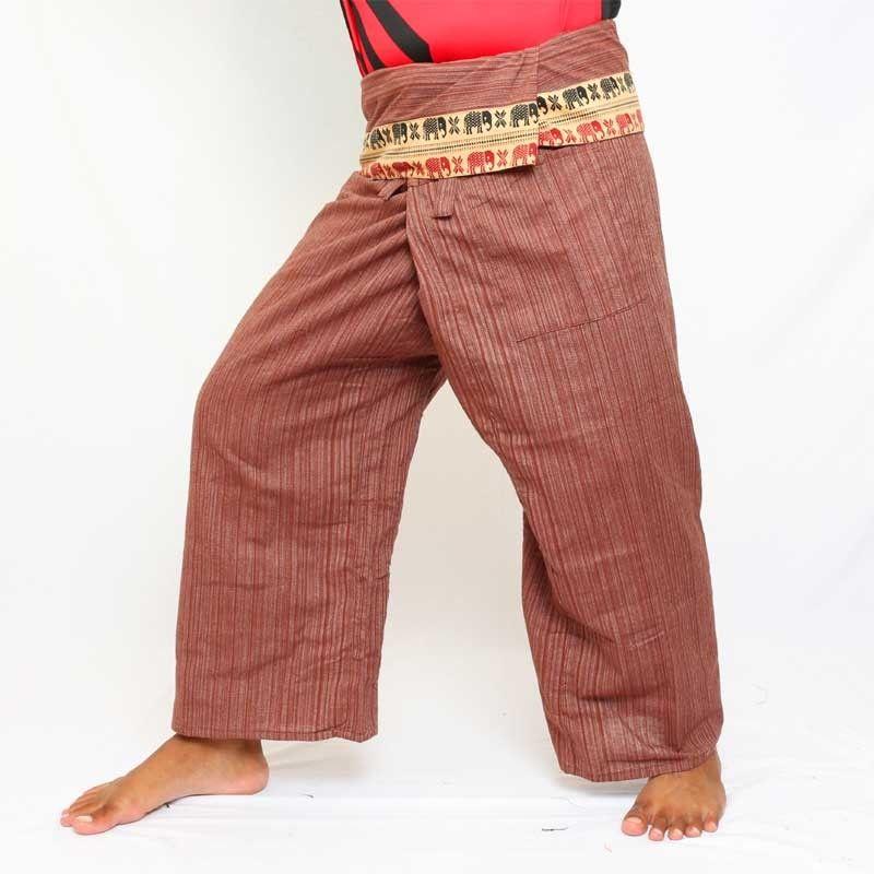 Wrap pants with pattern border - cotton - brown