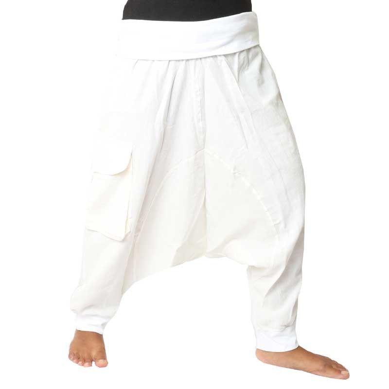 3/5 harem - blanco con tela Zierapplikation y bolsa