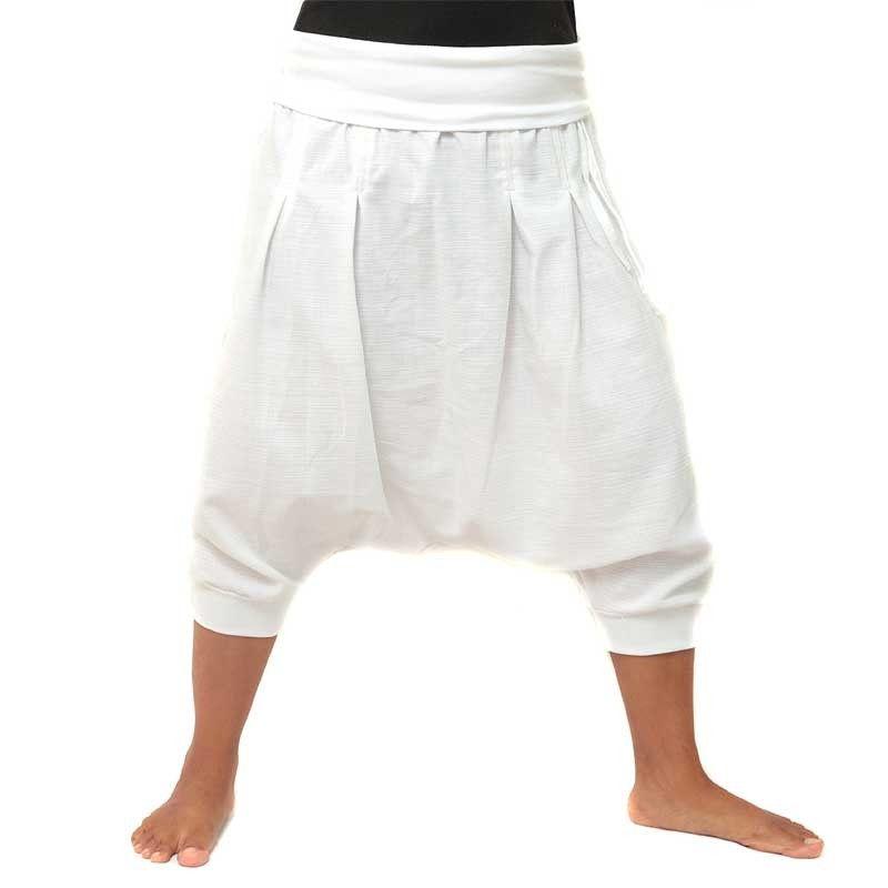 3/4 pantalones harén - blanco con dos bolsillos traseros