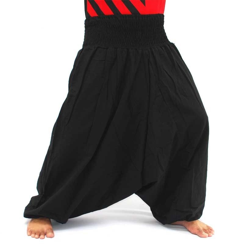 pantalones de harén de algodón negro