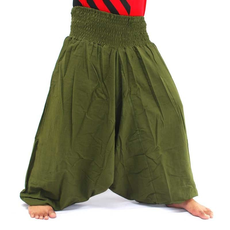 Pantalones harem pantalones holgados de algodón verde oliva