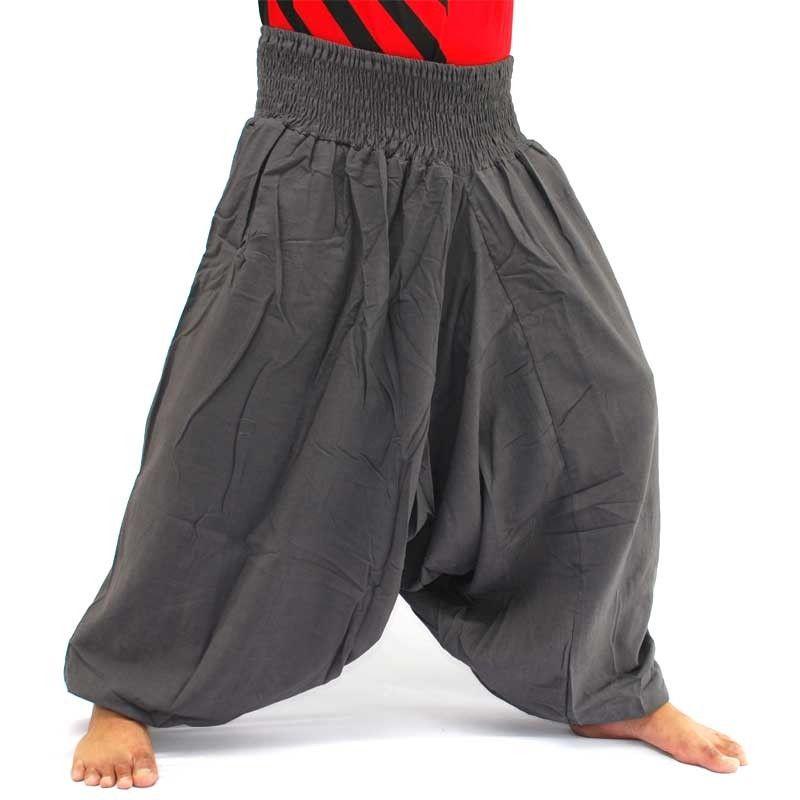 Pantalones harem pantalones holgados de algodón gris