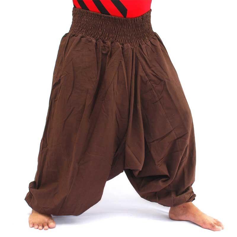 Pantalones harem pantalones holgados de algodón marrón