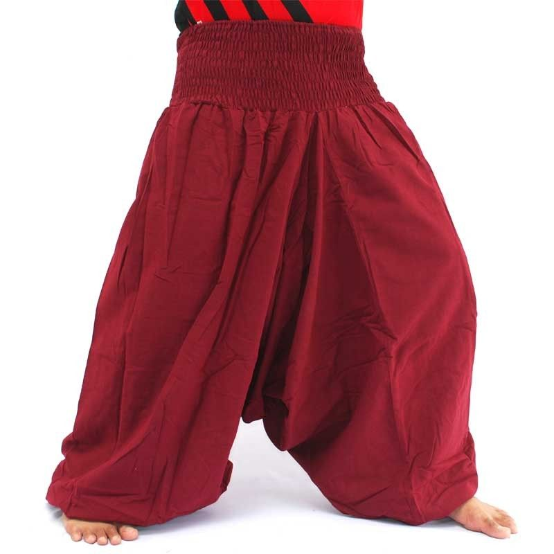 pantalones de harén de algodón burdeos