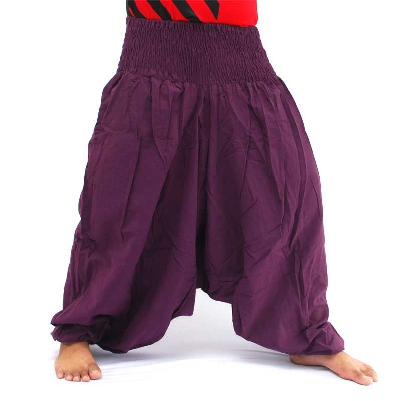 Pantalones harem pantalones holgados de algodón magenta
