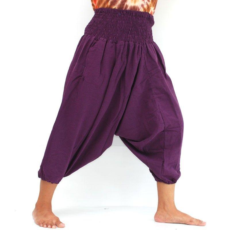 3/5 cotton aladdin pants violet