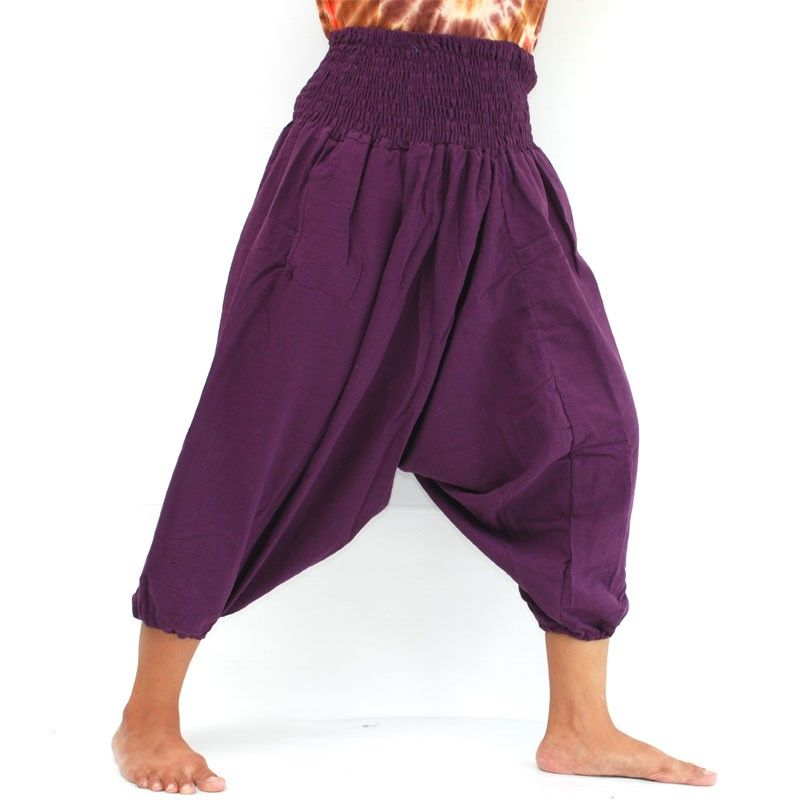 algodón de 3/5 harem púrpura