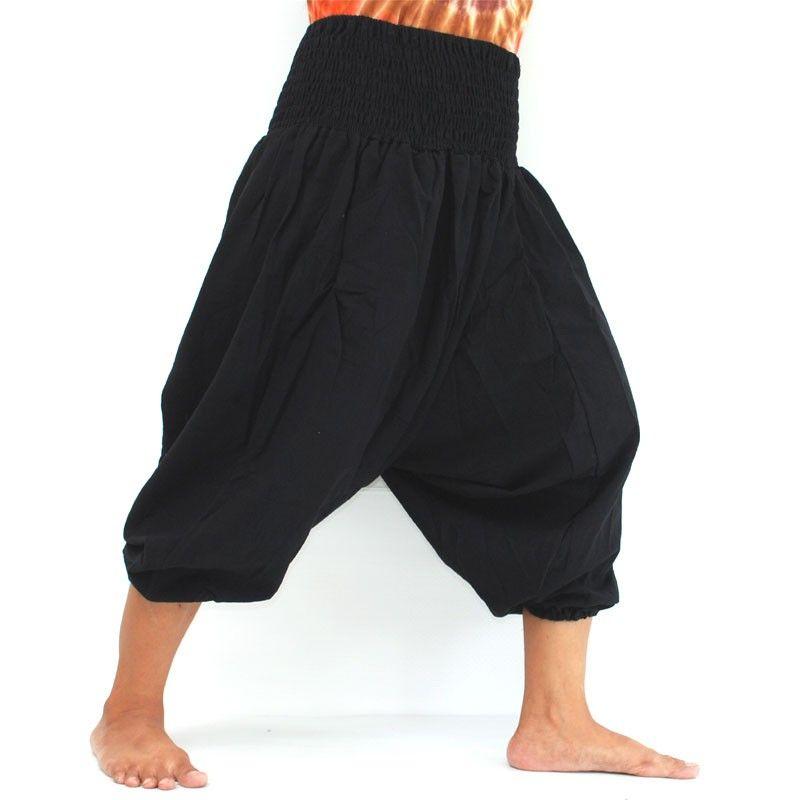 3/5 pantalones de harén de algodón negro