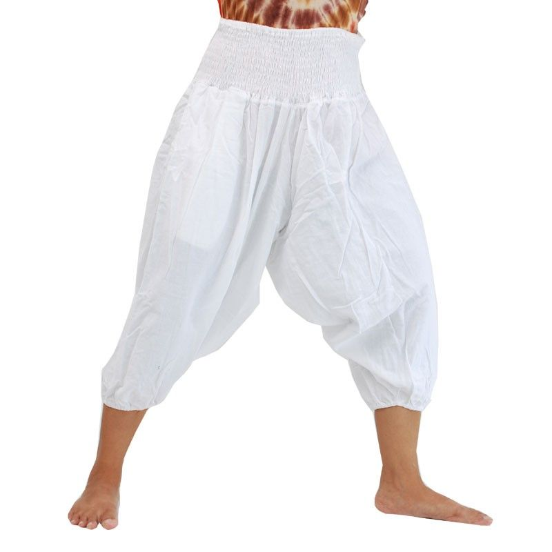 Pantalones holgados 3/5 harem en algodón blanco