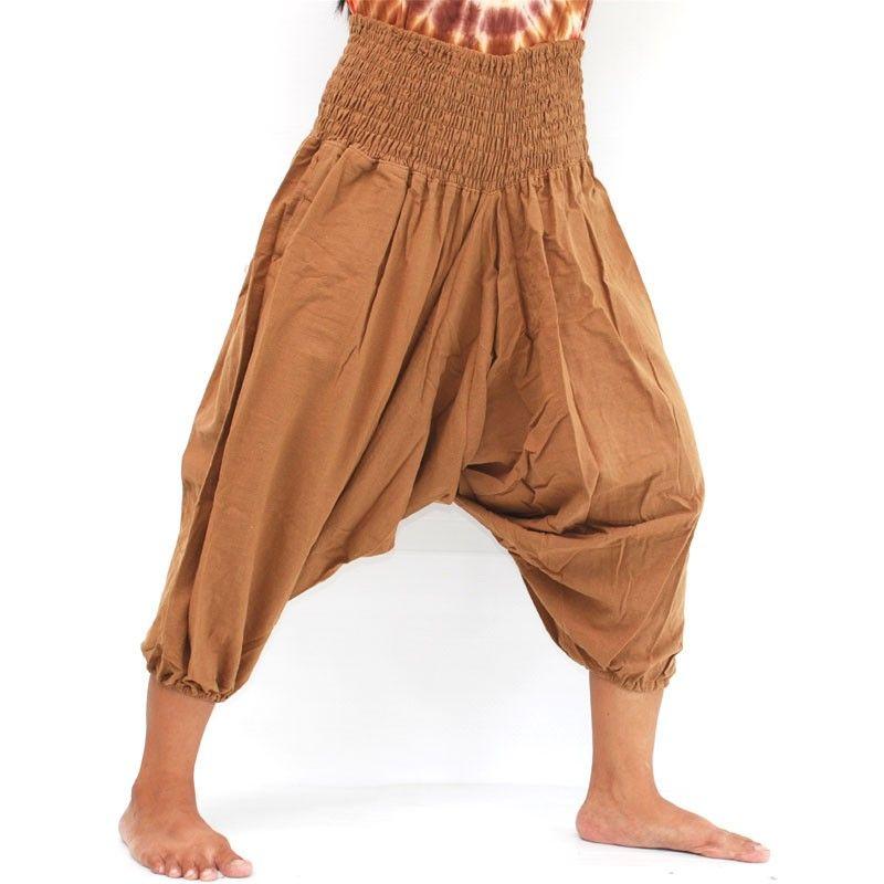 pantalones de harén marrón de algodón 3/5