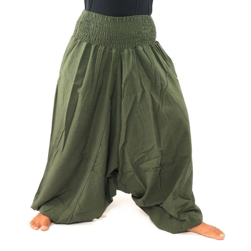 Harén pantalones de algodón verde