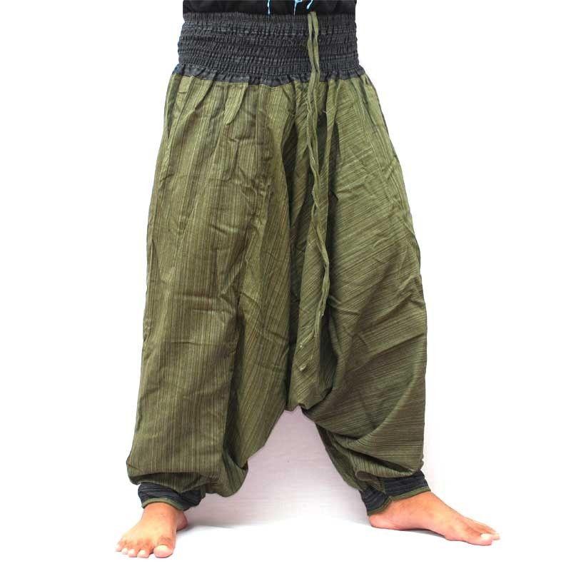 Pantalones harén Cottonmix con bolsillo lateral bicolor - verde negro