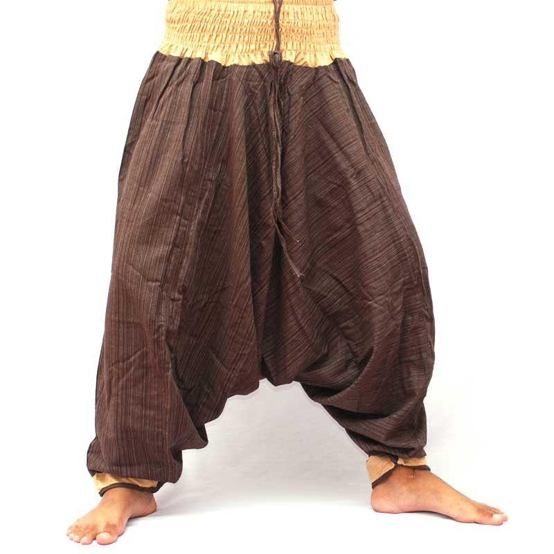 Pantalones bombachos, algodón - marrón oscuro