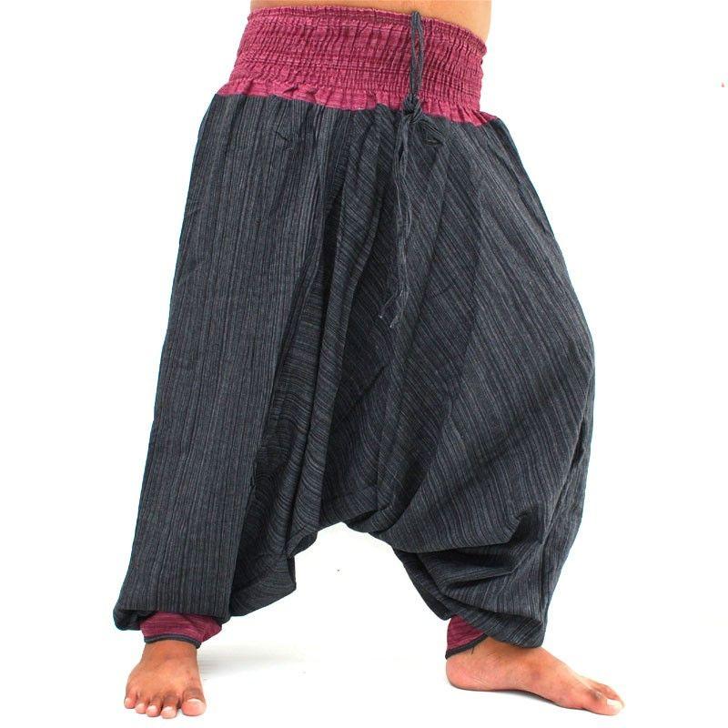 Harem pants two-tone with waistband black purple