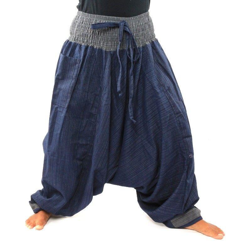 Aladdin dos tonos con un azul gris ancho en la cintura