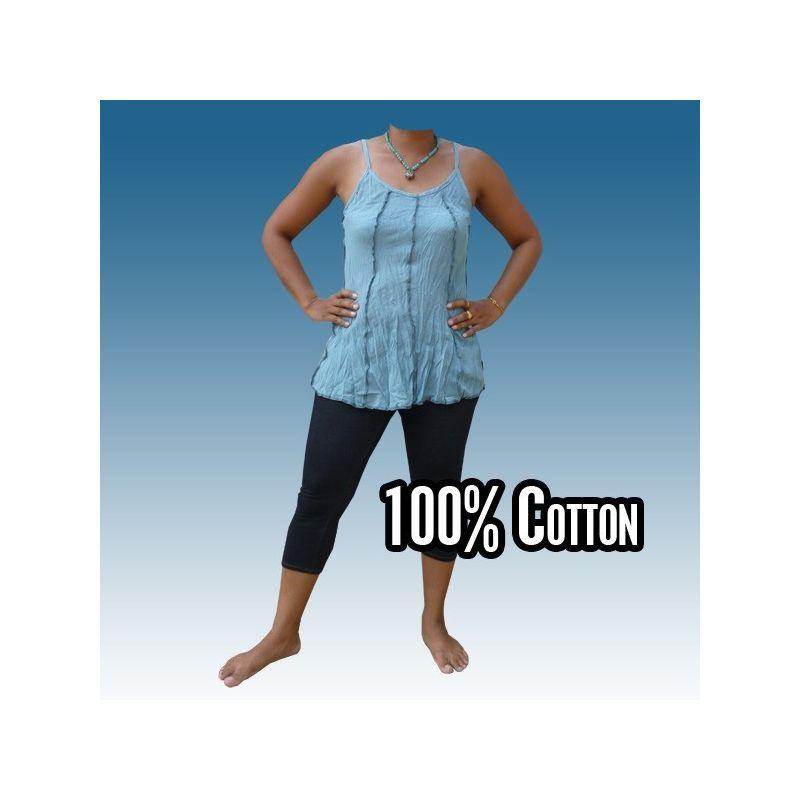 Camisa de algodón para mujer, azul M-L
