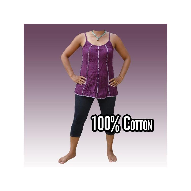 Camisa de algodón de tamaño de las mujeres, magenta M-L