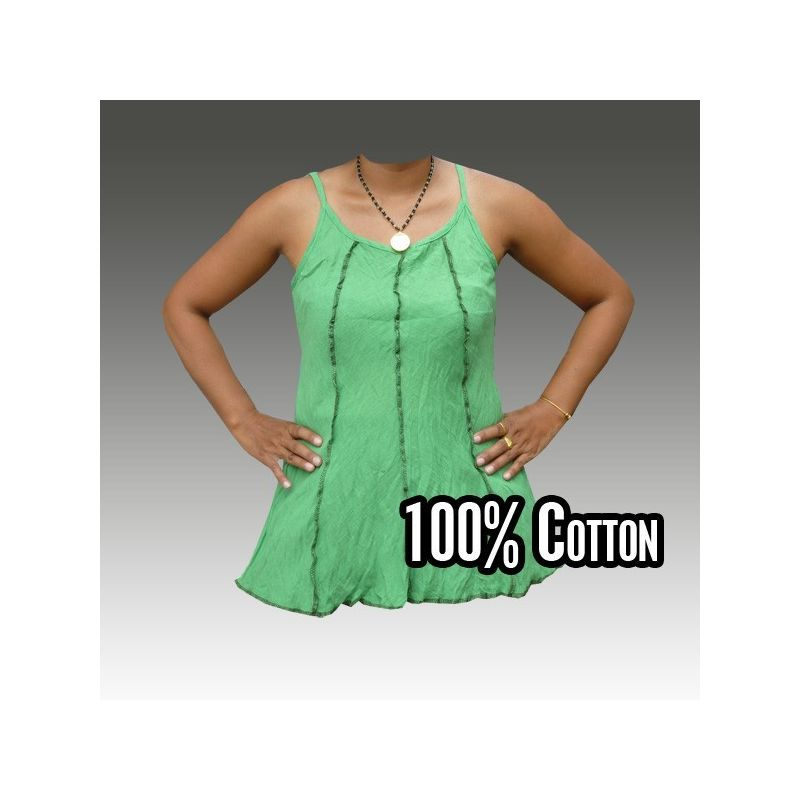Baumwollhemd für Frauen, grün M-L