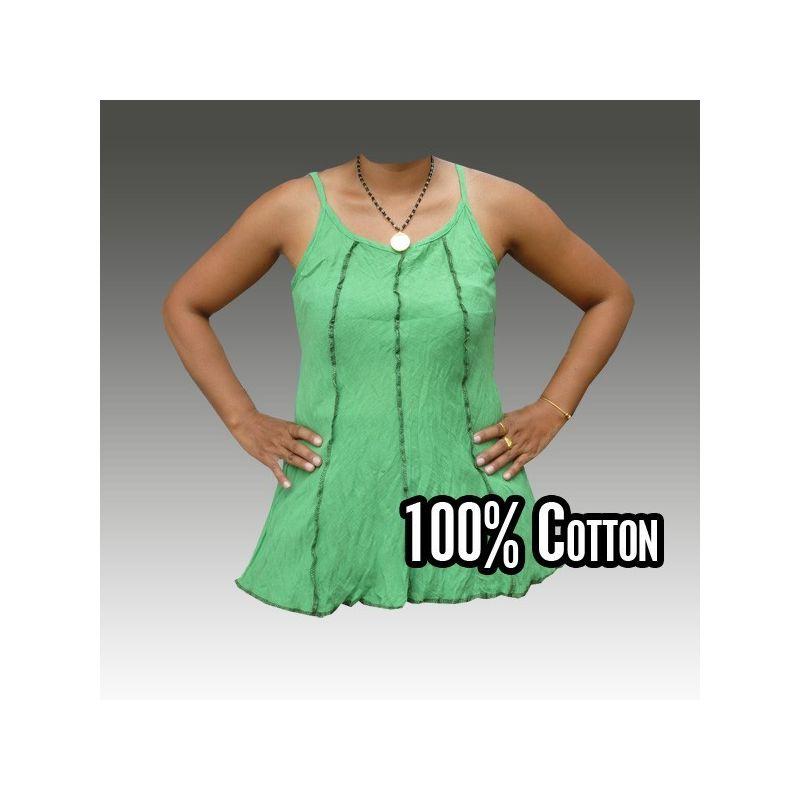 Camisa de algodón para las mujeres, verde M L