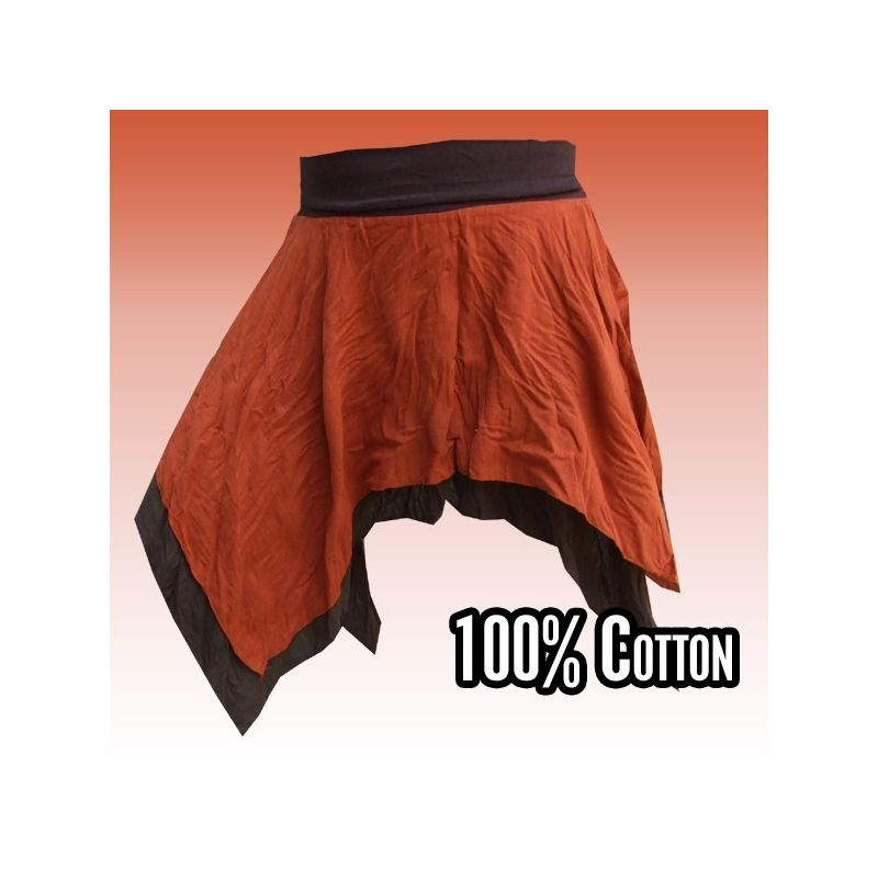 Cotton skirt - two-ply, dark brown light brown