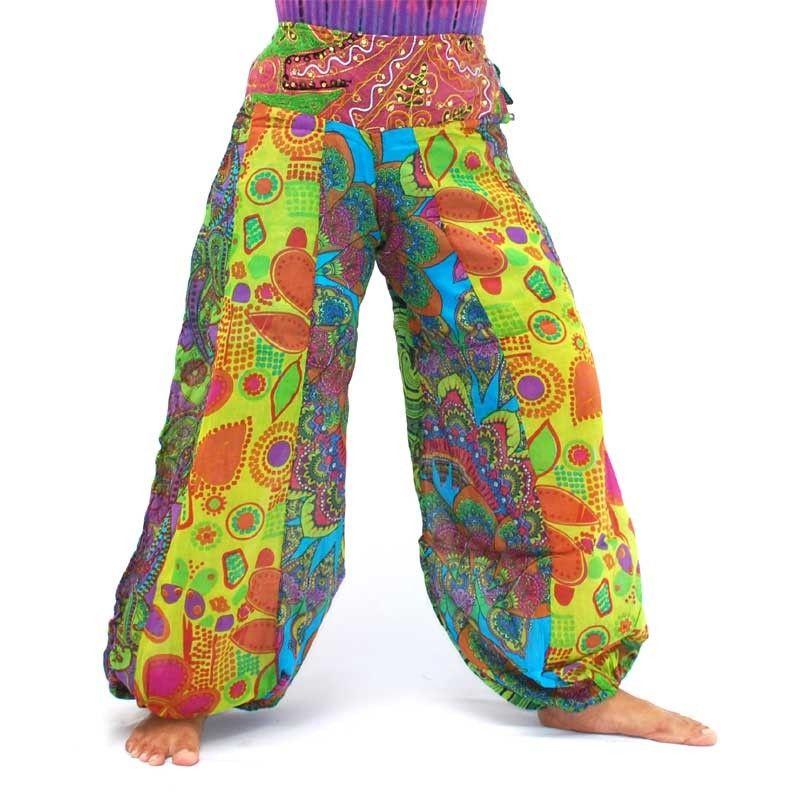 Algodón Nepal Palazzo, pantalones multicolores