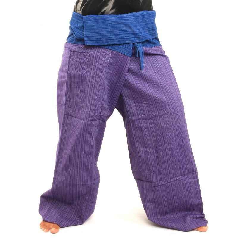 Thai fisherman trousers cotton mix - magenta blue